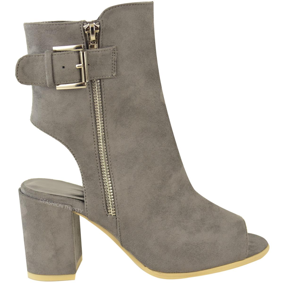 womens ankle boots mid block heel peep toe open