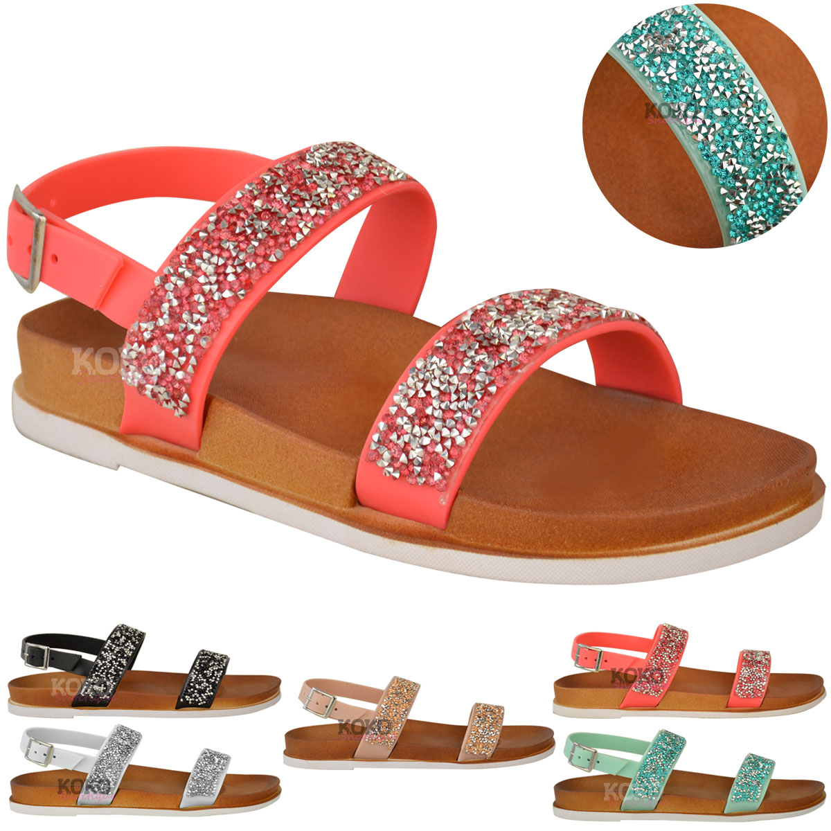 Womens Ladies Diamante Summer Flat Sandals Ankle Strappy ...