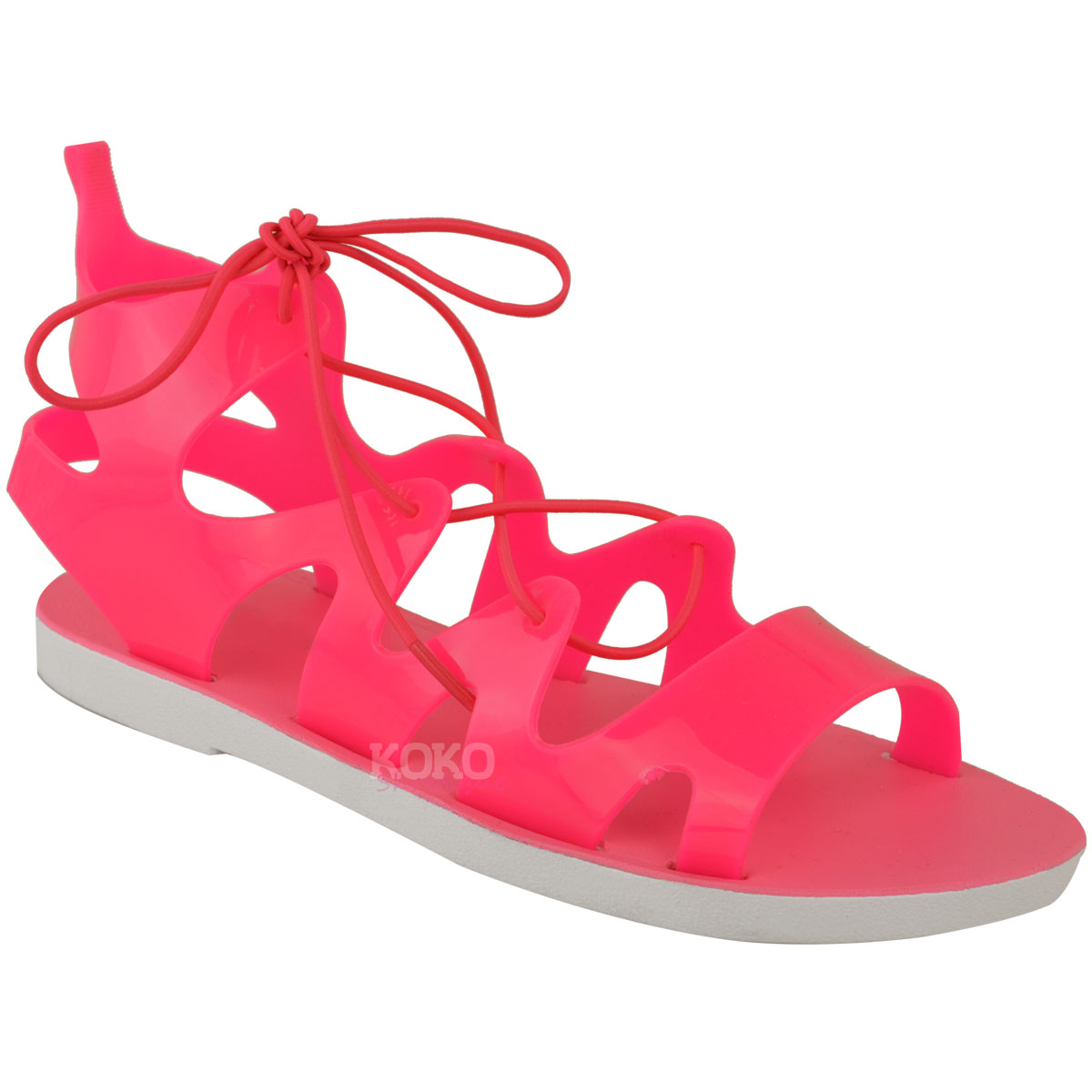womens flat lace up jelly sandals ankle high