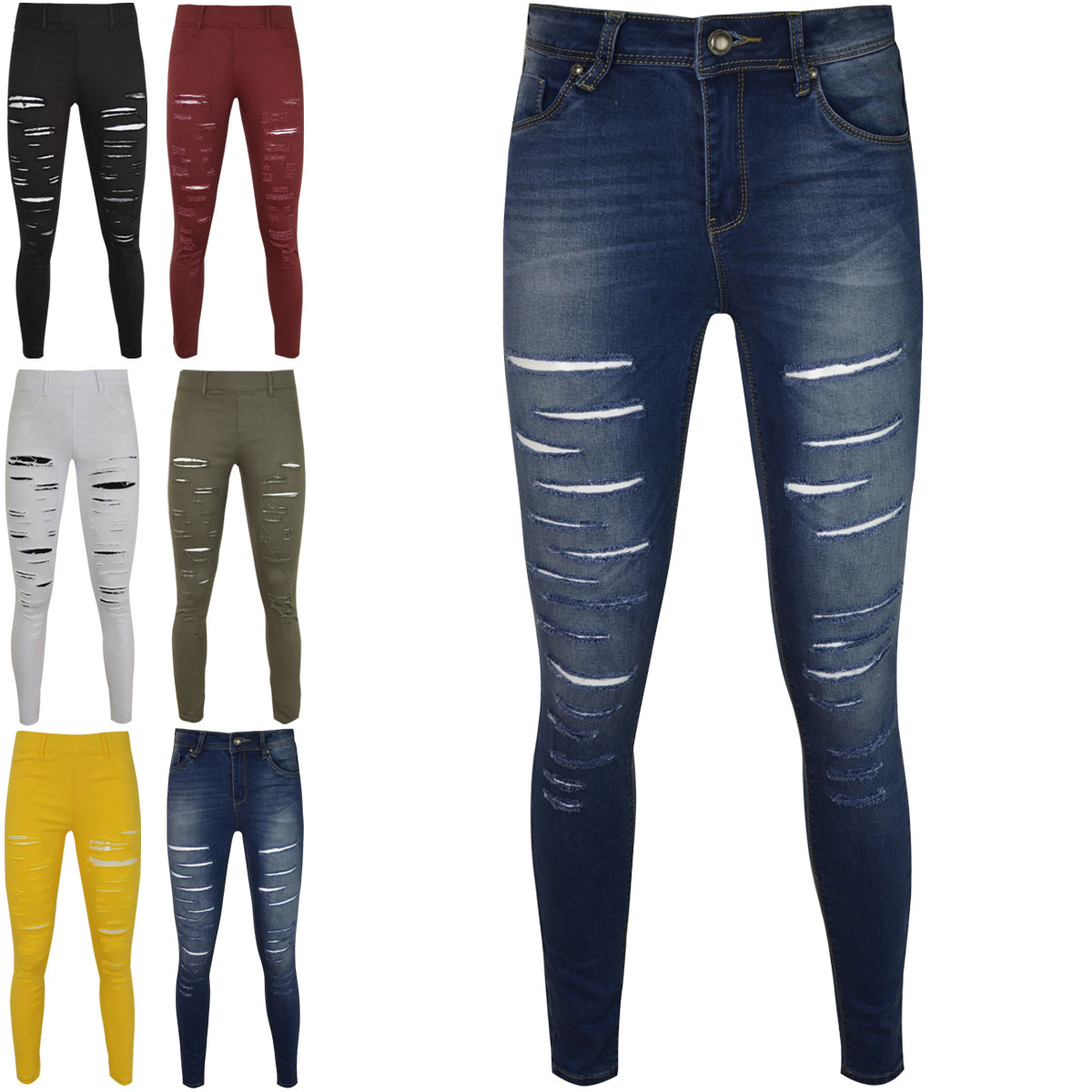 WOMENS LADIES SKINNY FIT RIPPED JEANS JEGGINGS STRETCH SLIM DENIM ... 49242d3bf4