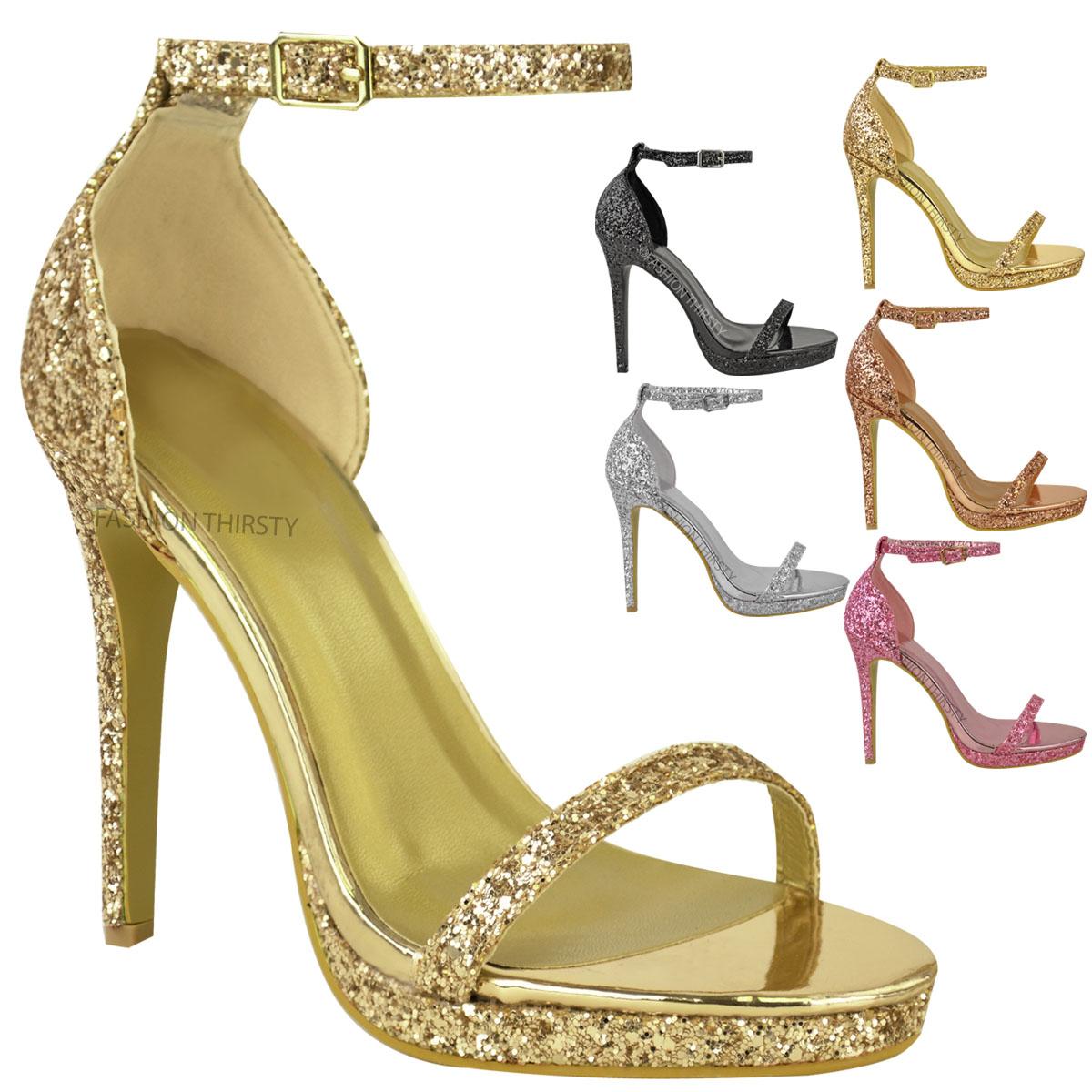 Womens Ladies Platform High Heels Ankle Strappy Glitter