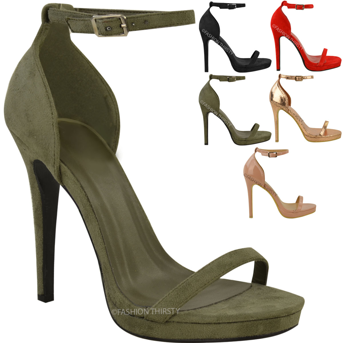 Womens Ladies High Heel Sandals Peep Toe Barely There Ankle Strappy Shoes Size