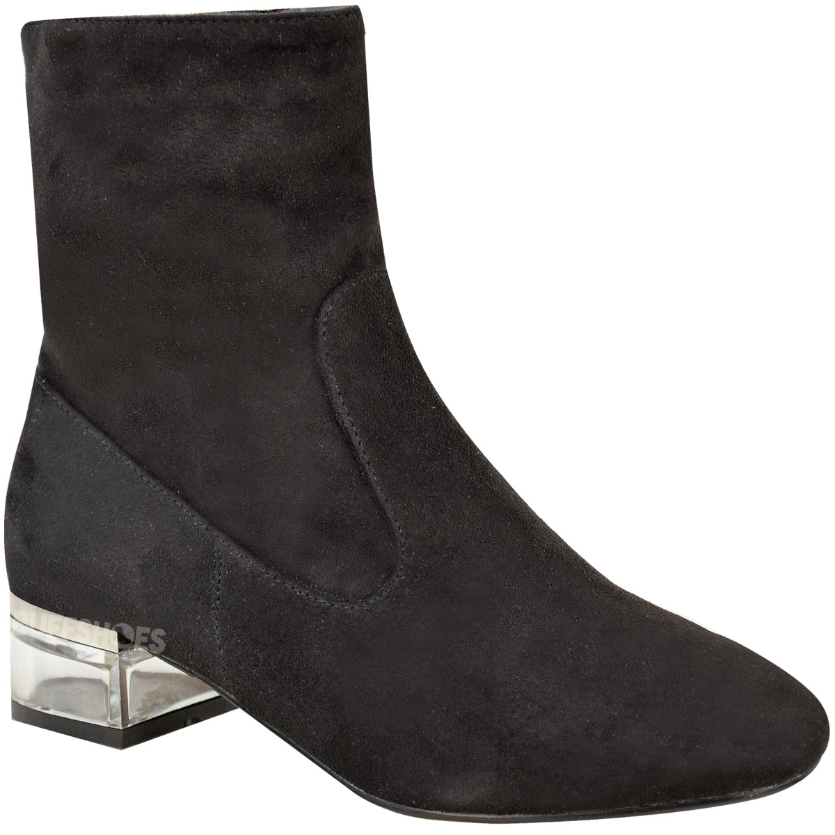 Womens Ladies Perspex Heel Ankle Boots Low Flat Chelsea Velvet ...