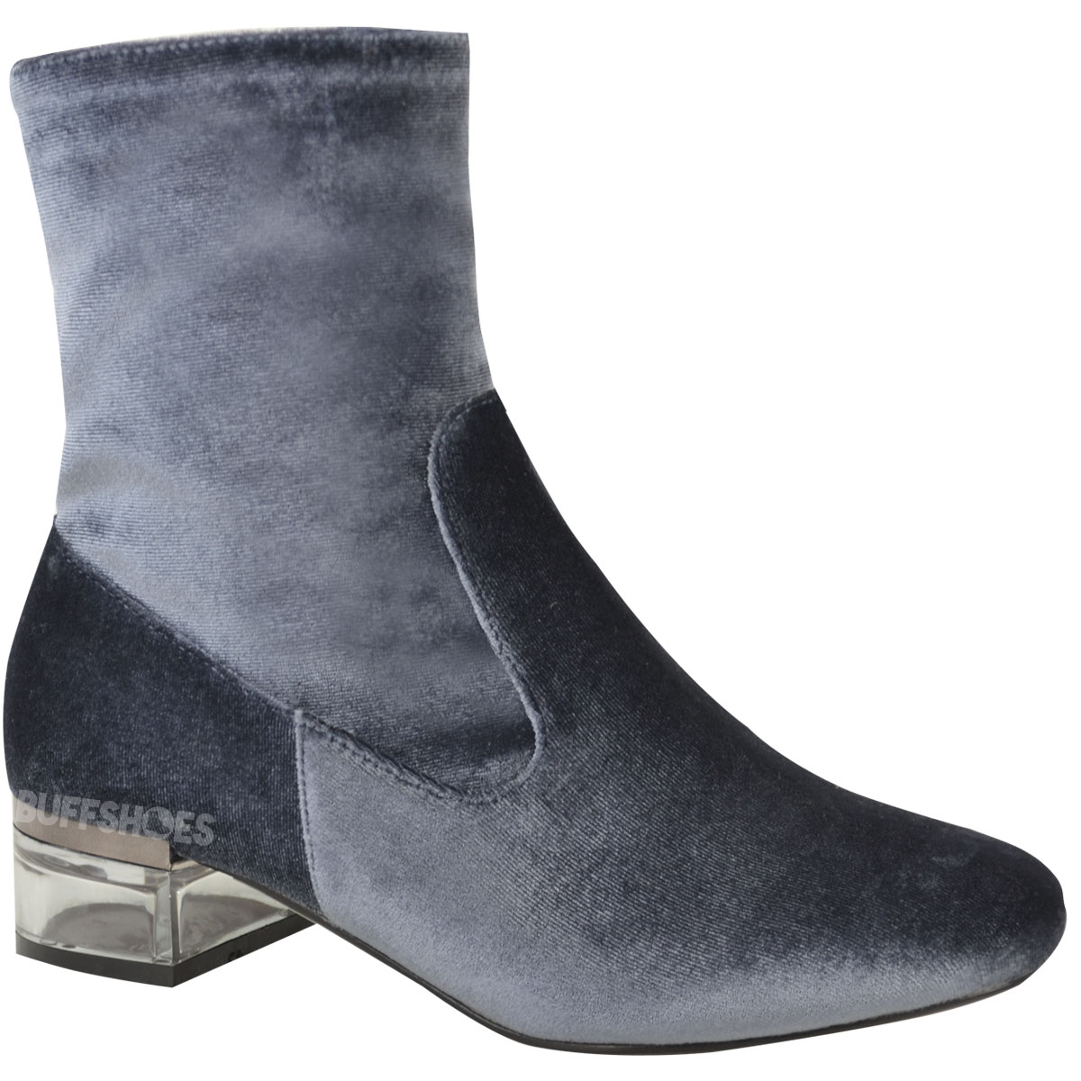 womens perspex heel ankle boots low flat chelsea