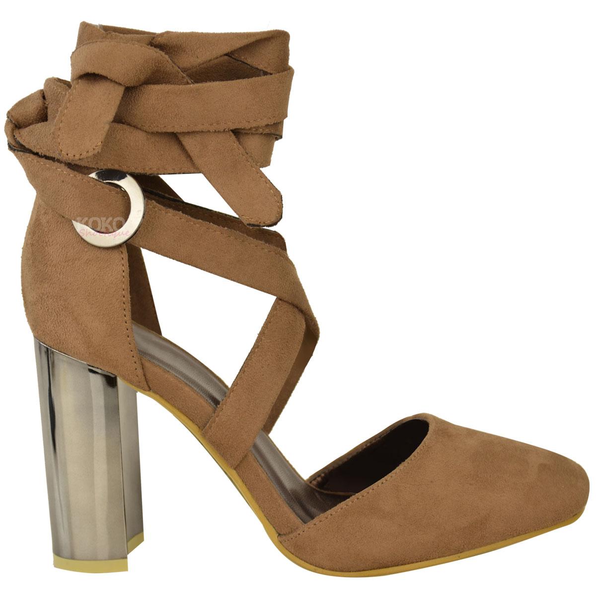 New Womens Ladies Block High Heel Ankle Tie Wrap Closed ...