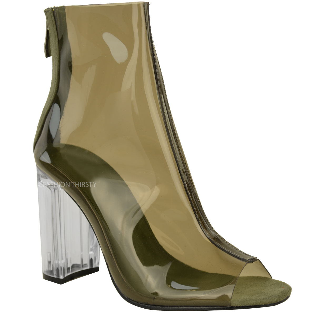 New Womens Ladies Ankle Boots Clear Perspex Block High ...