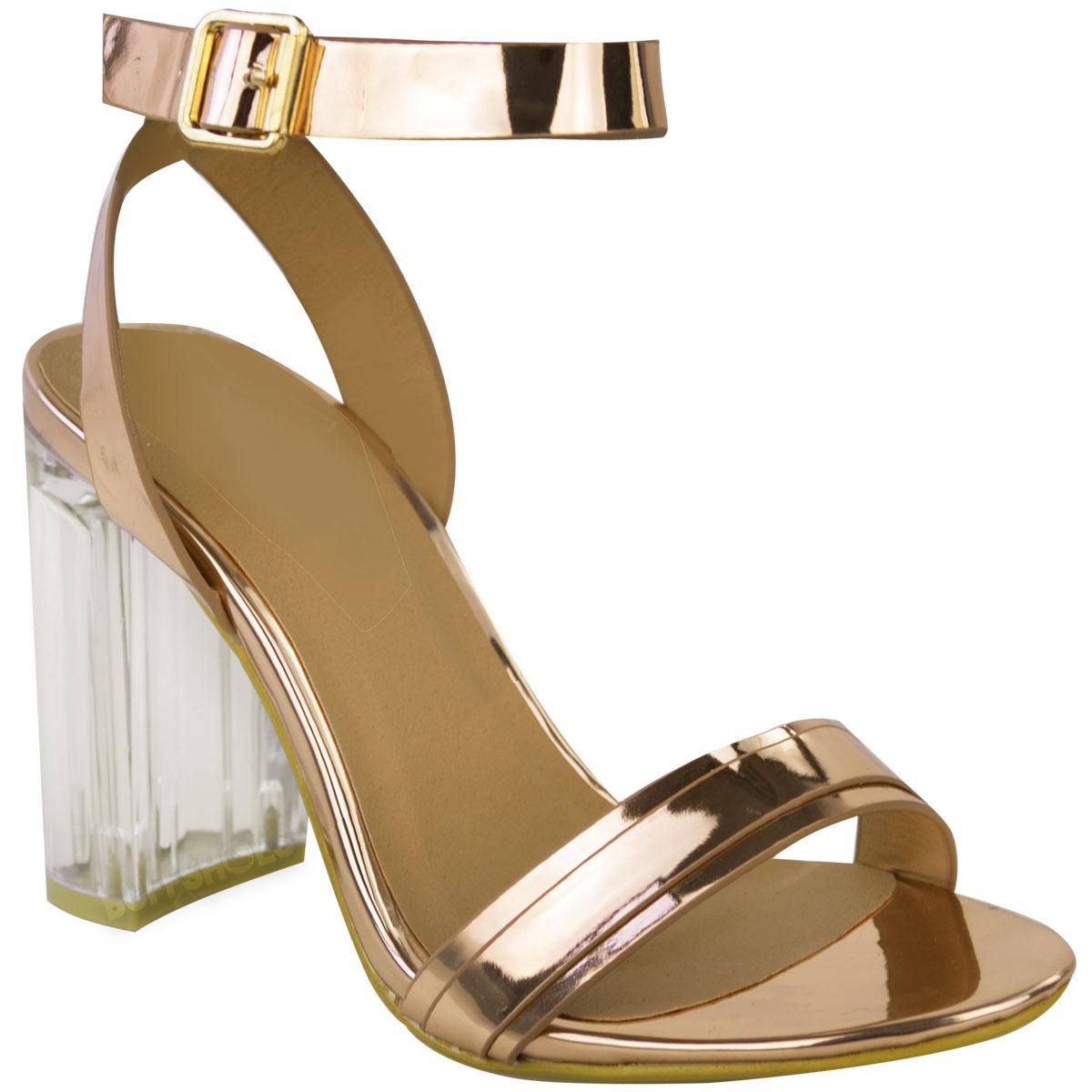 Womens Ladies Perspex Block High Heels Clear Sandals Celeb Ankle ...