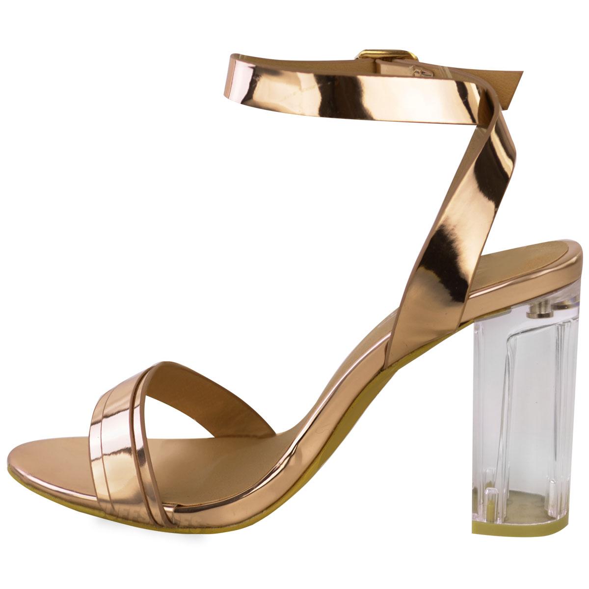 7def16a7ca2502 Womens Ladies Perspex Block High Heels Clear Sandals Celeb Ankle ...