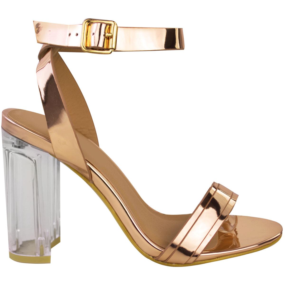 Womens Ladies Perspex High Heels Block Clear Sandals Celeb