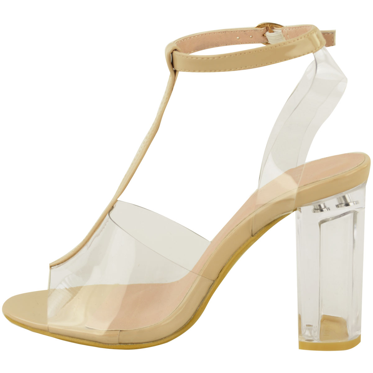 Womens High Clear Heels Ankle Strappy Open Toe Ladies Sandals Party Shoes Size   EBay