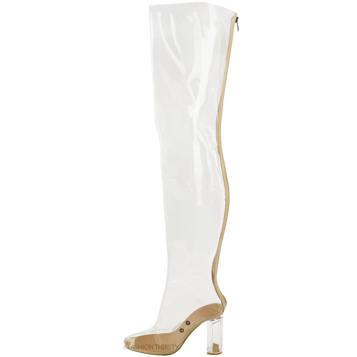 new womens the knee clear perspex thigh high