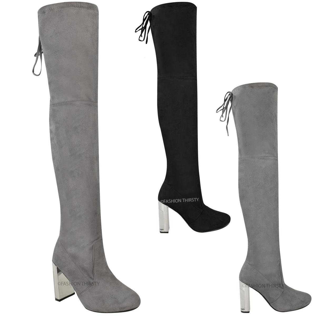 womens the knee boots thigh high chrome