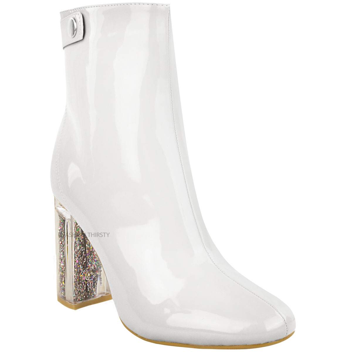 new womens ankle boots glitter perspex block high