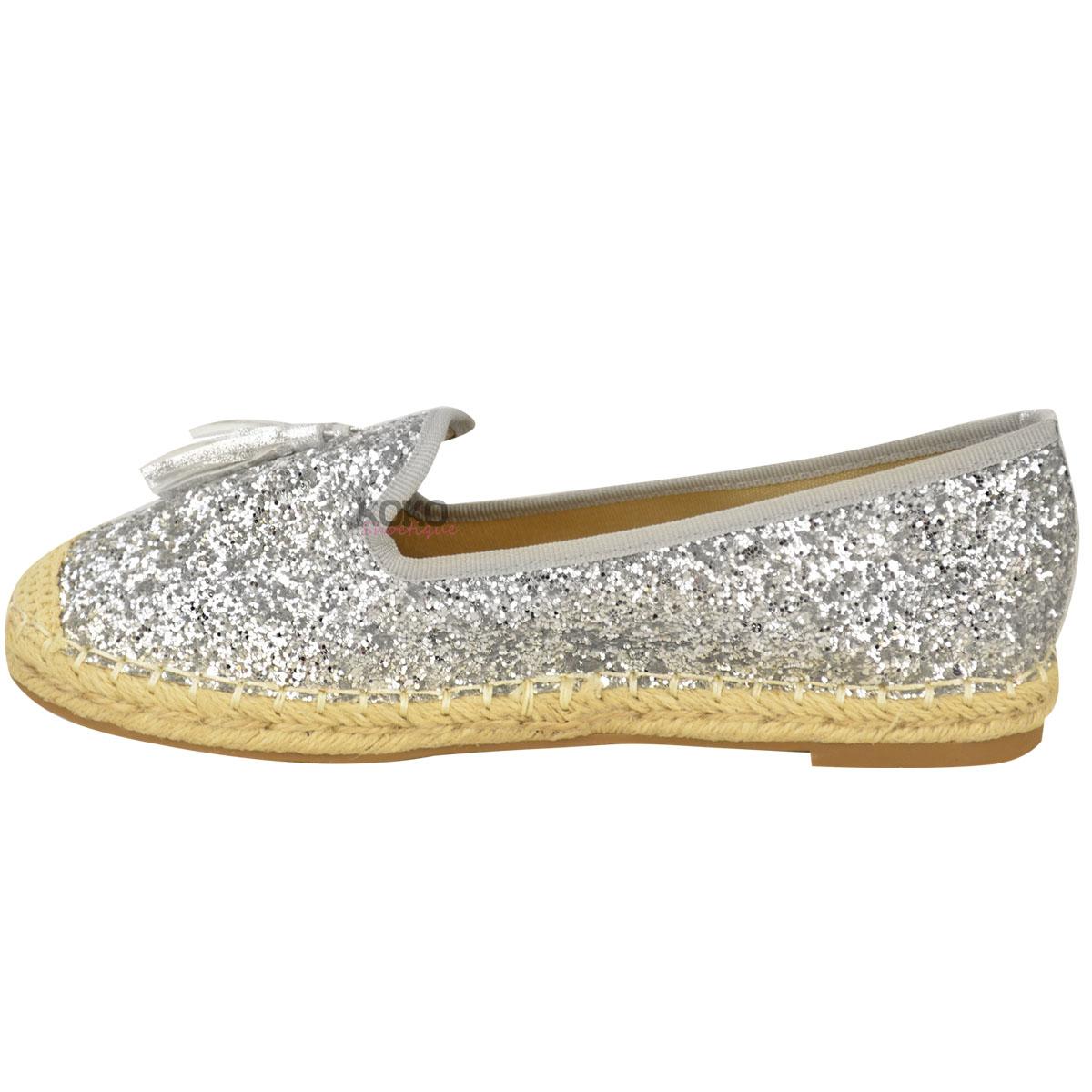 womens flat glitter tassel espadrilles slip on