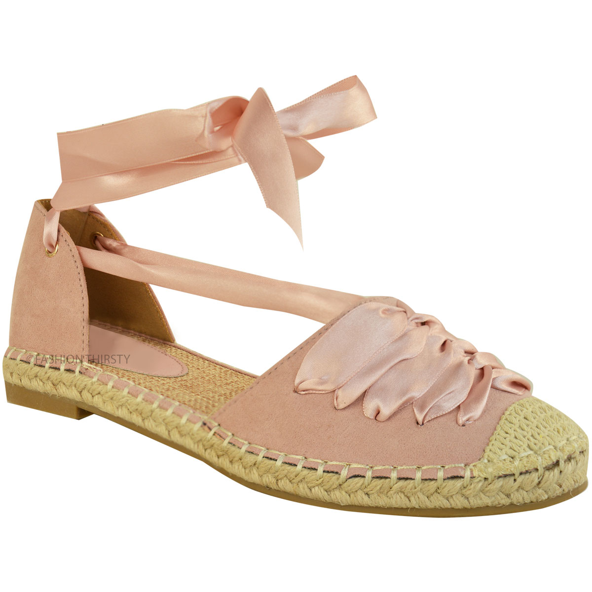 Womens Ladies Flat Low Heel Espadrilles Lace Tie Up Canvas ...