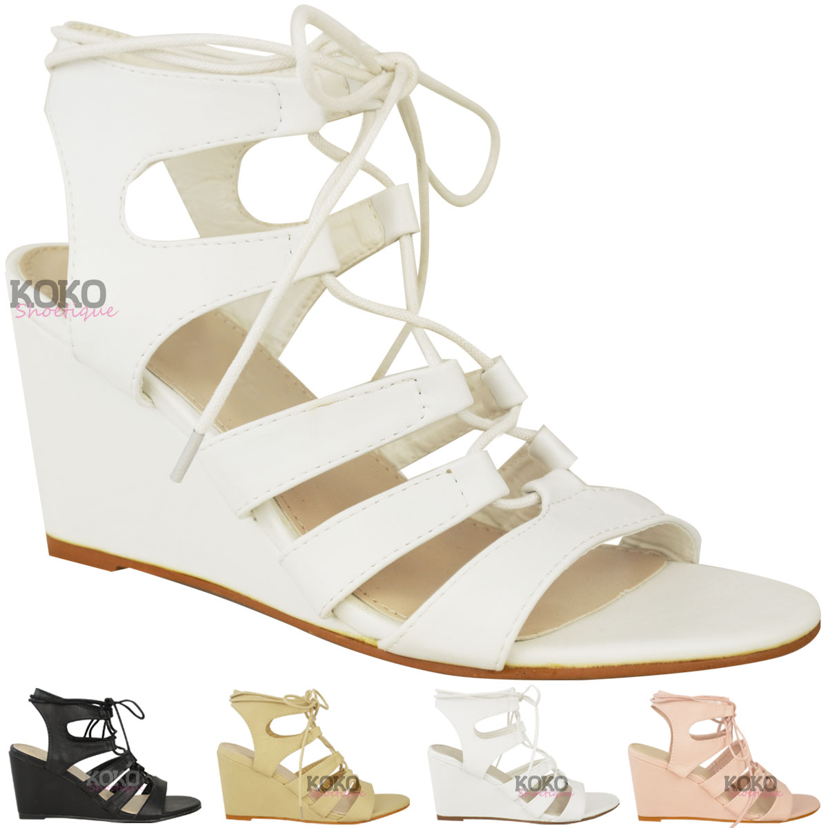 womens strappy wedges mid high heel sandals lace up