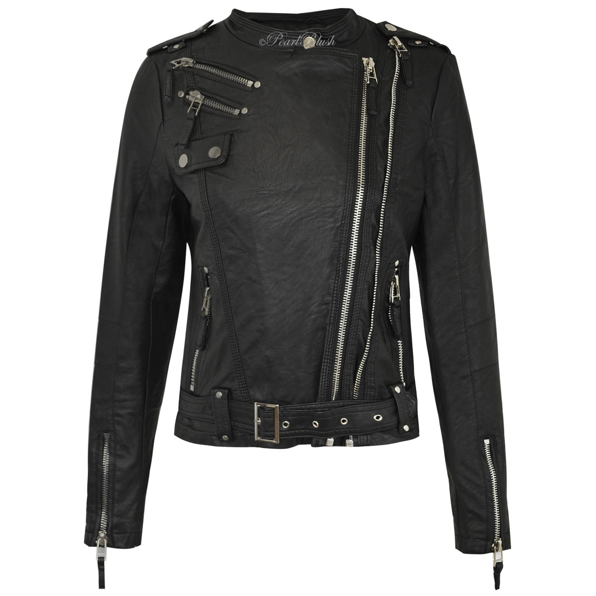 Instantly toughen up your look by topping it with a classic biker jacket cut from sleek faux leather and crowned with a lush faux fur collar. % polyurethane faux leather with 53% modacrylic, 47% acrylic faux .