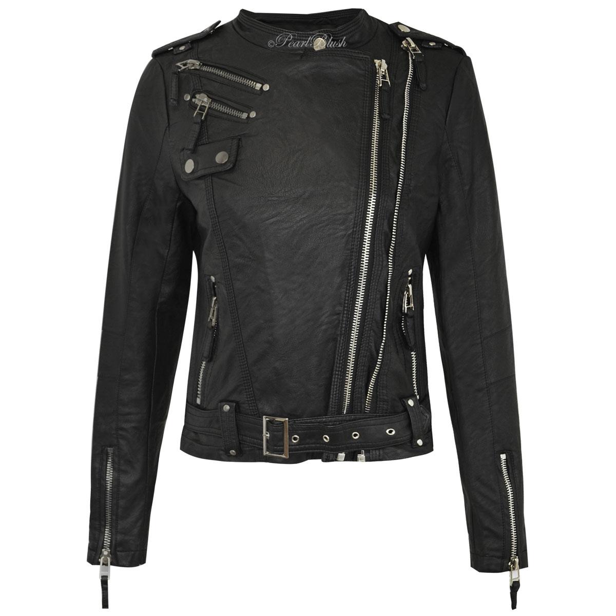 womens ladies faux leather jacket bomber biker long sleeve