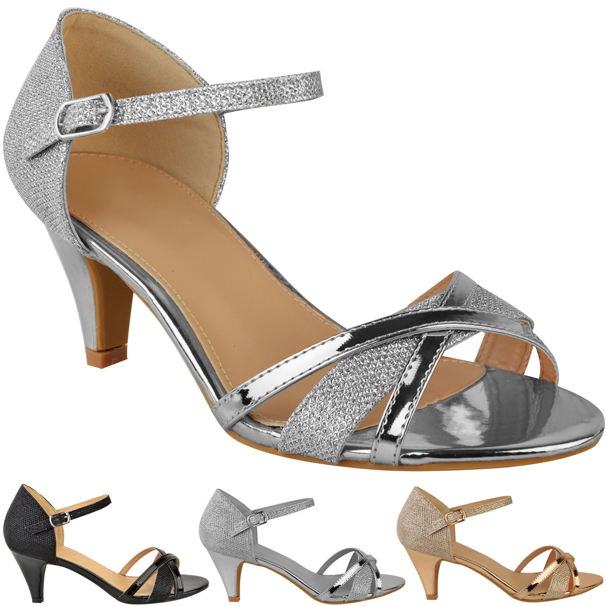 Womens Ladies Low Heel Wedding Bridal Silver Sandals Party ...