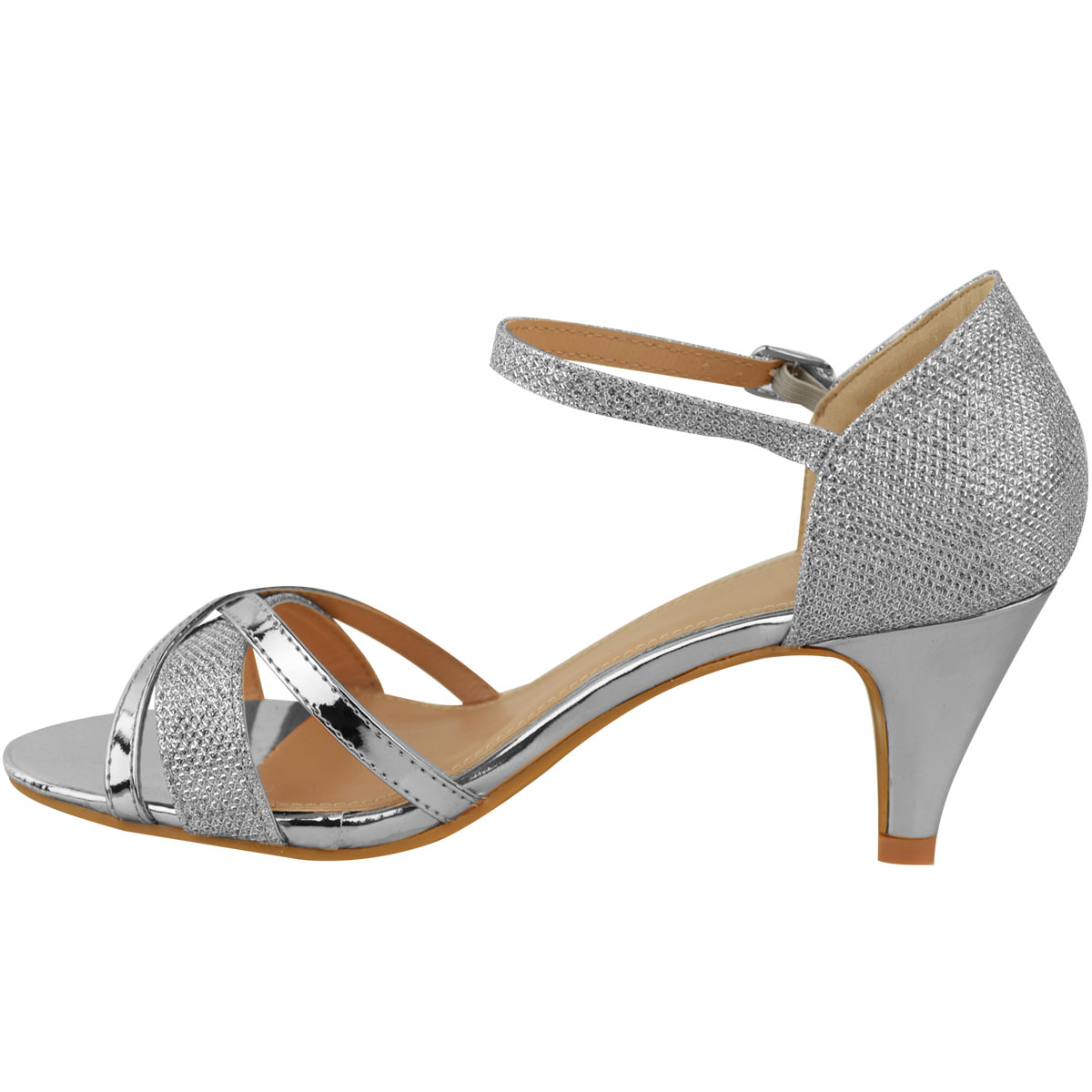 Womens Ladies Low Heel Wedding Bridal Silver Sandals Party