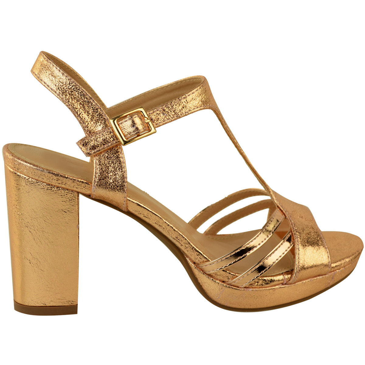 Sandals Mid Block Heel Womens Ladies Party Wedding Bridal Comfort Strappy Size