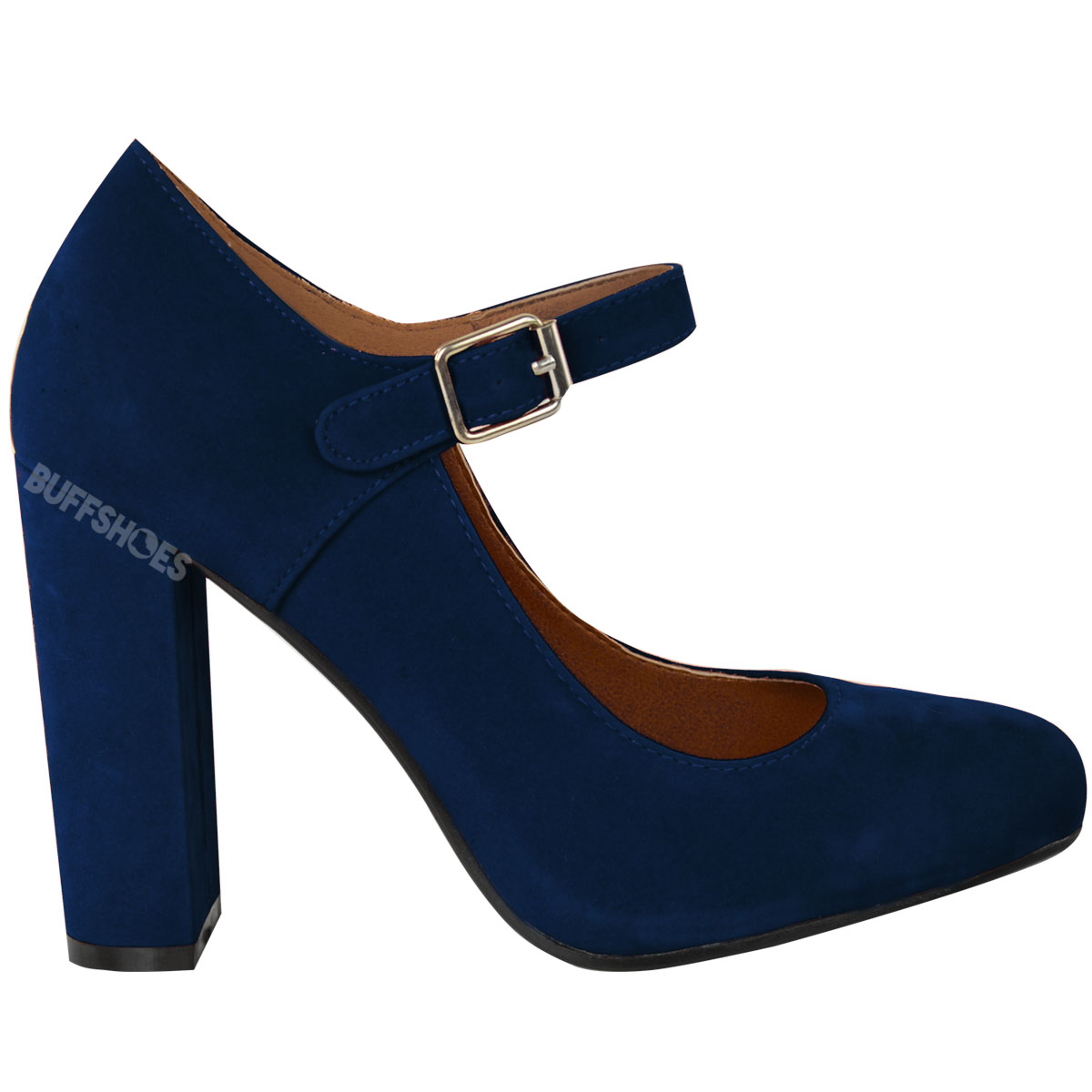Womens Las Block High Heels Court Shoes Mary