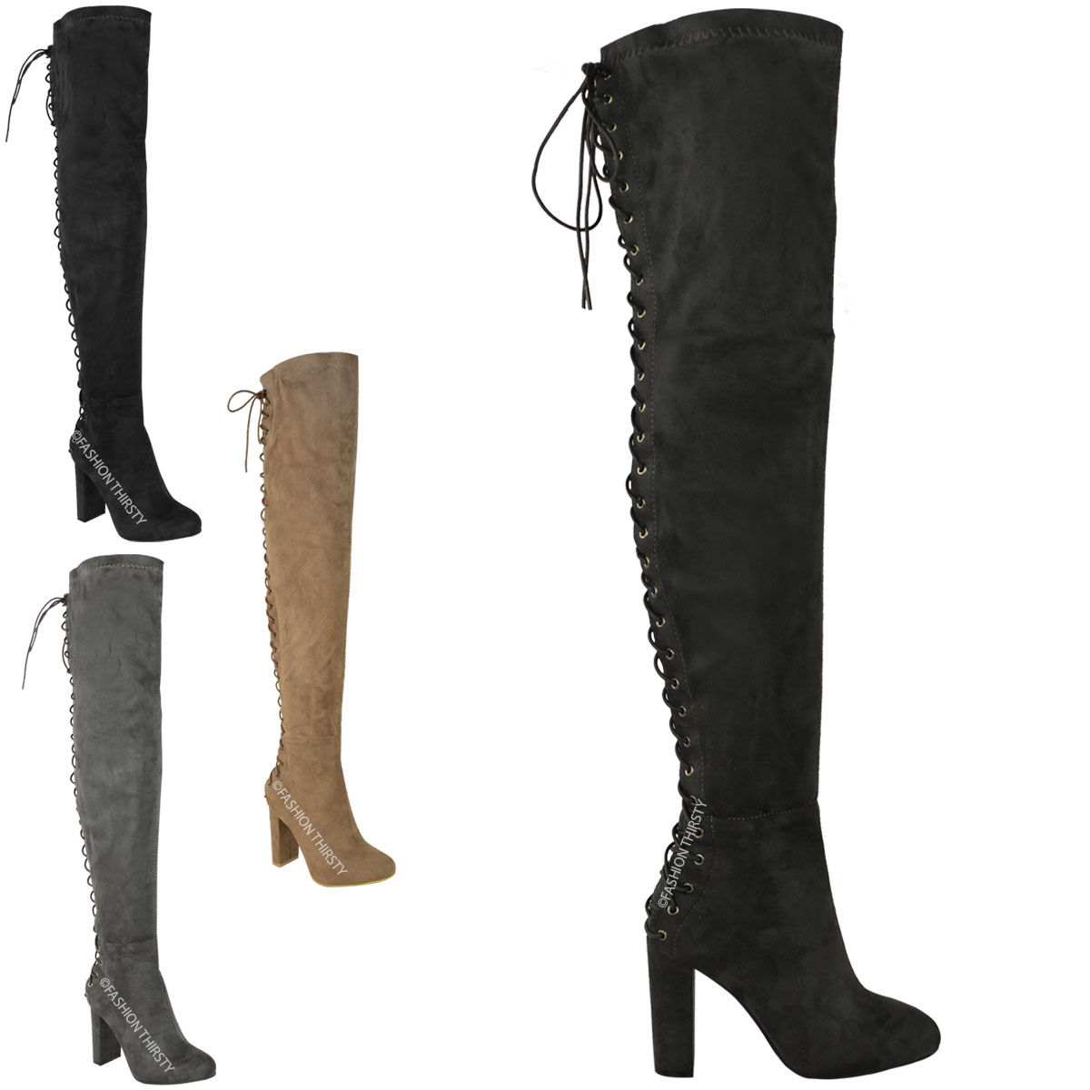 Womens Stretchy Faux Suede Block Heels Over Knee Thigh High Boots Shoes Black Sz