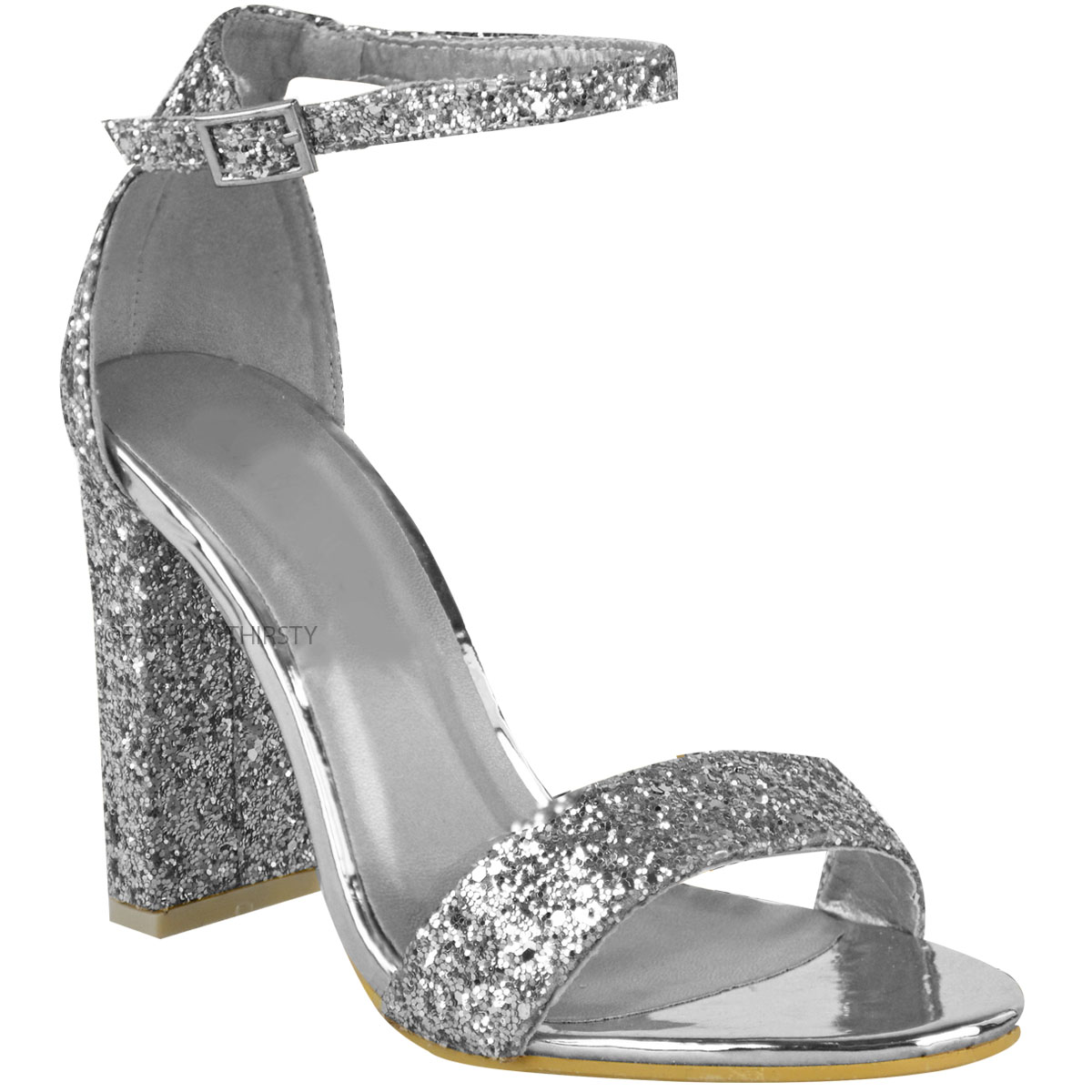 womens ladies block heel ankle strappy glitter sandals