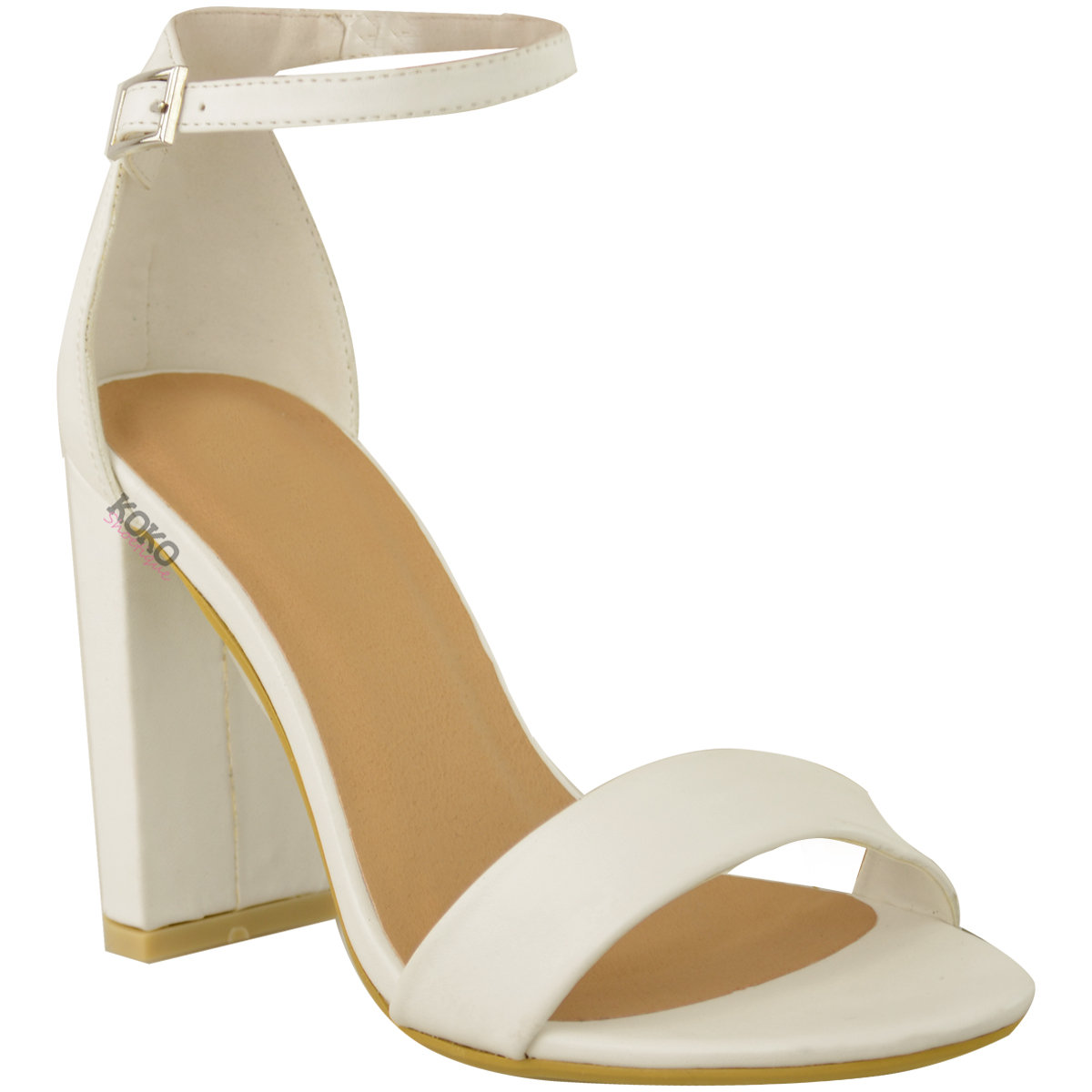 Womens-Ladies-Block-High-Heels-Ankle-Strap-Sexy-Open-Toe-Sandals-Shoes-Size-New miniatuur 38