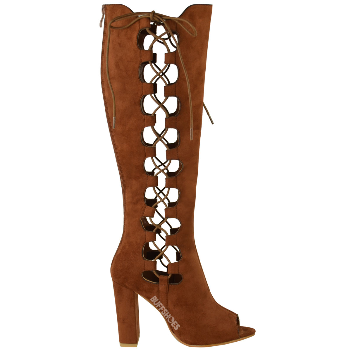 womens lace up side knee high block heel boots cut