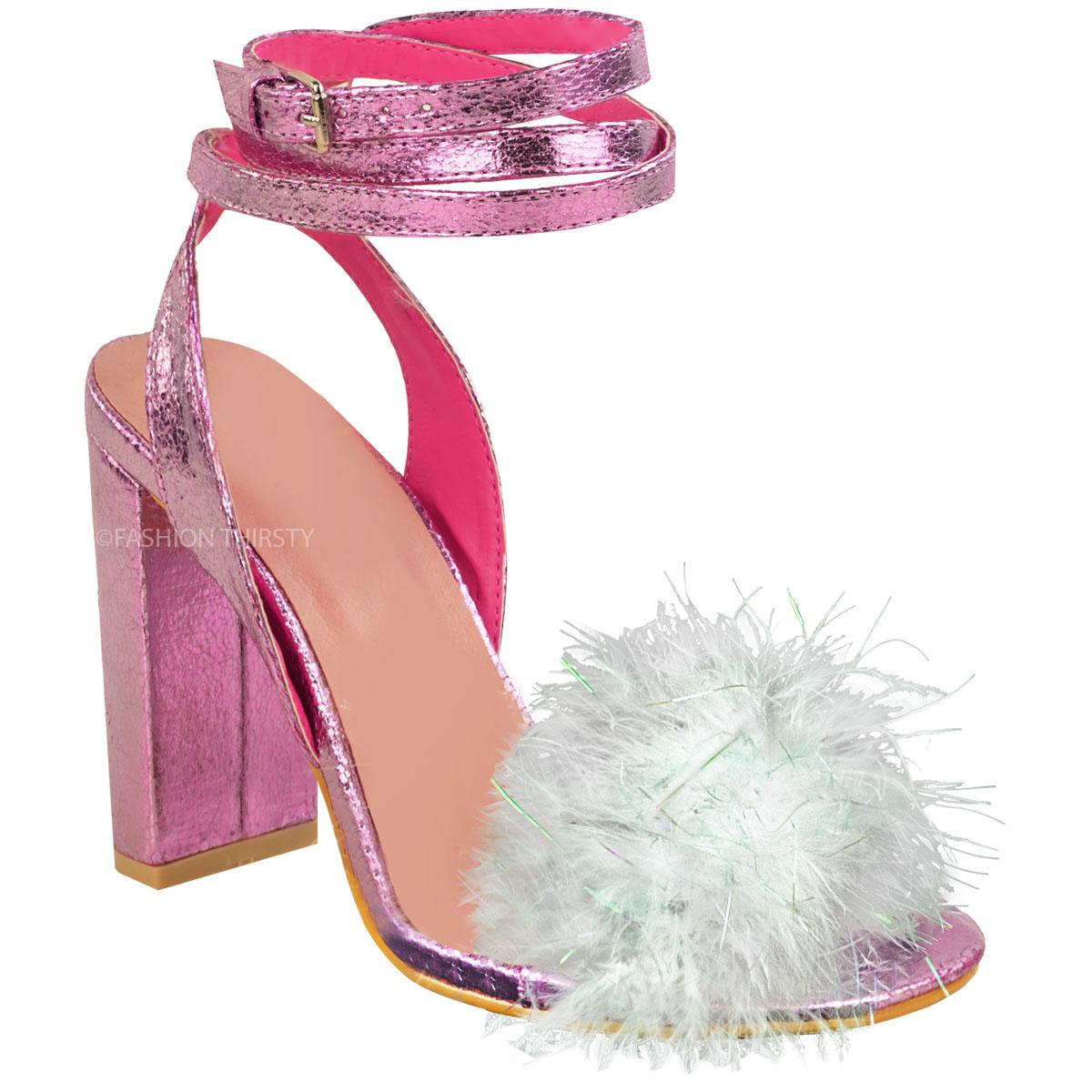 New Womens Ladies Fluffy Fur Pom Pom High Heel Party ...