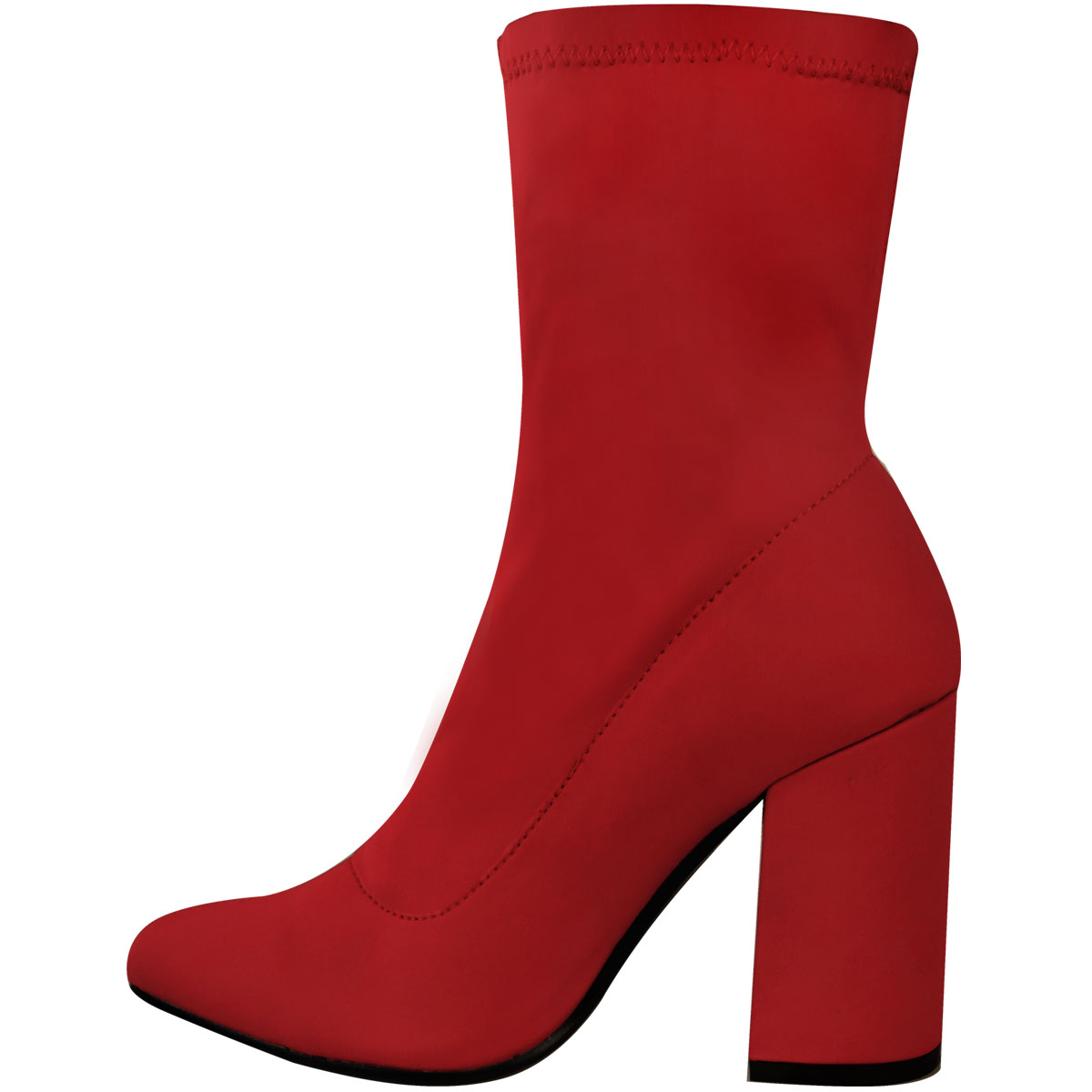 New Ladies Womens Block High Heel Stretchy Lycra Wide Fit Ankle Boots Party Size