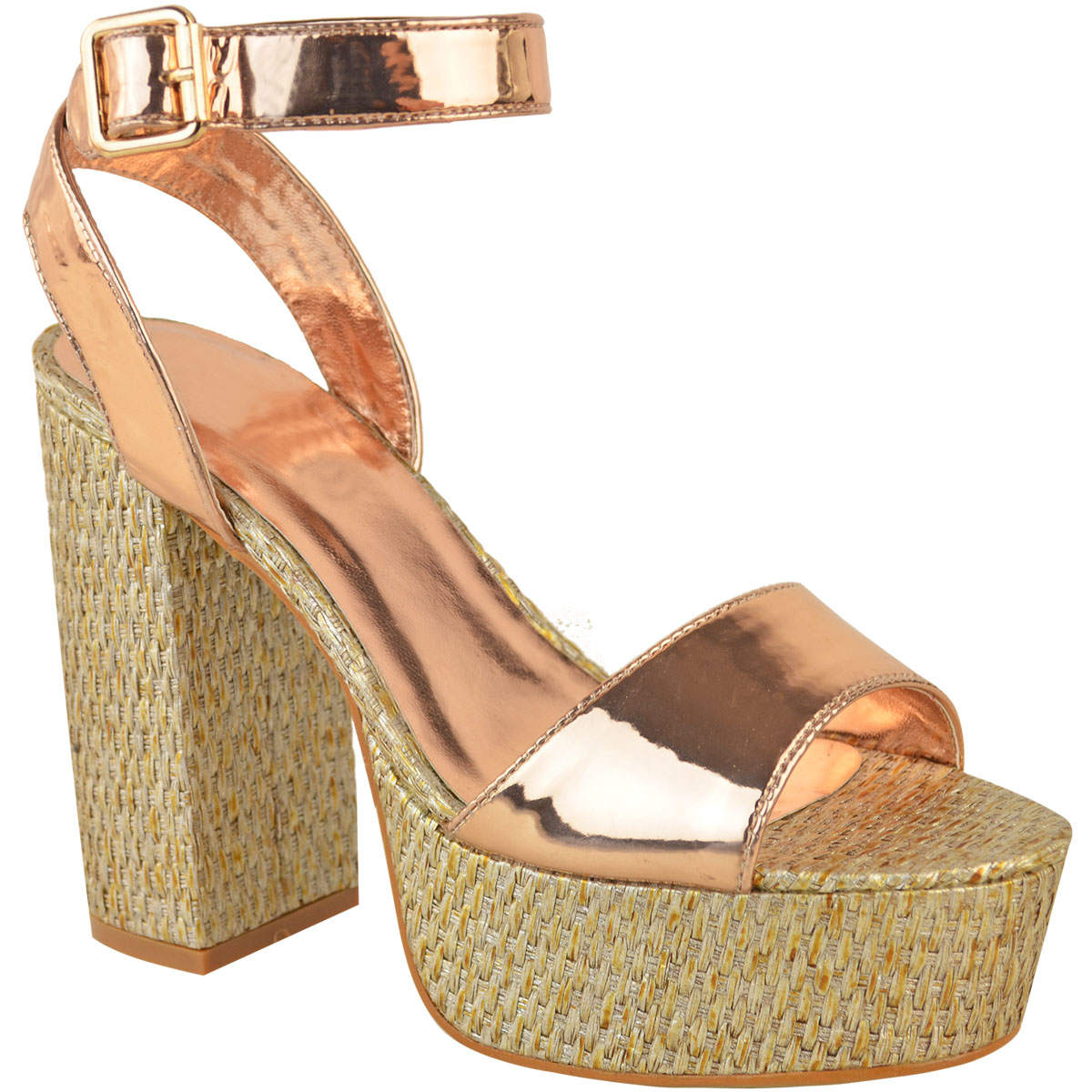 Womens-Ladies-Platforms-Sandals-Block-Heel-Ankle-Strap-Summer-Barely-There-Size thumbnail 3