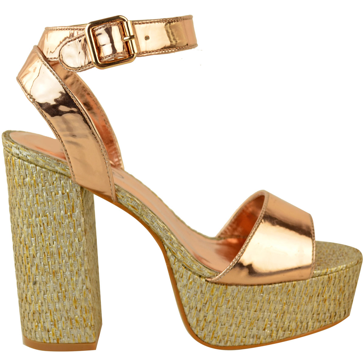Womens-Ladies-Platforms-Sandals-Block-Heel-Ankle-Strap-Summer-Barely-There-Size thumbnail 4