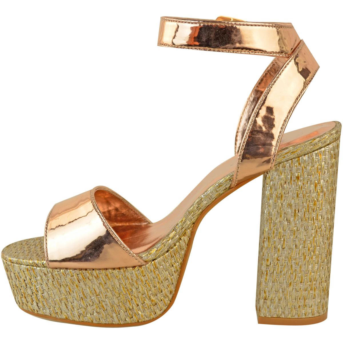 Womens-Ladies-Platforms-Sandals-Block-Heel-Ankle-Strap-Summer-Barely-There-Size thumbnail 5