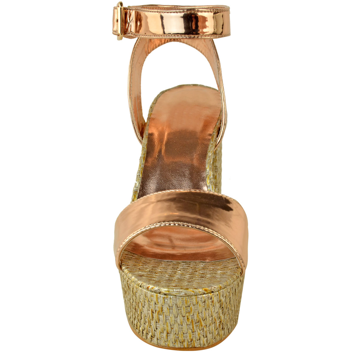 Womens-Ladies-Platforms-Sandals-Block-Heel-Ankle-Strap-Summer-Barely-There-Size thumbnail 6