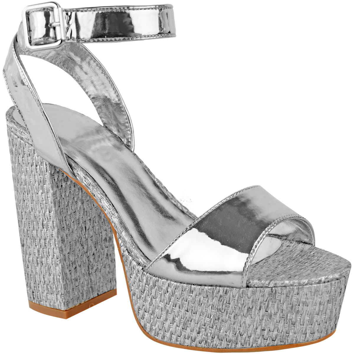 Womens-Ladies-Platforms-Sandals-Block-Heel-Ankle-Strap-Summer-Barely-There-Size thumbnail 8