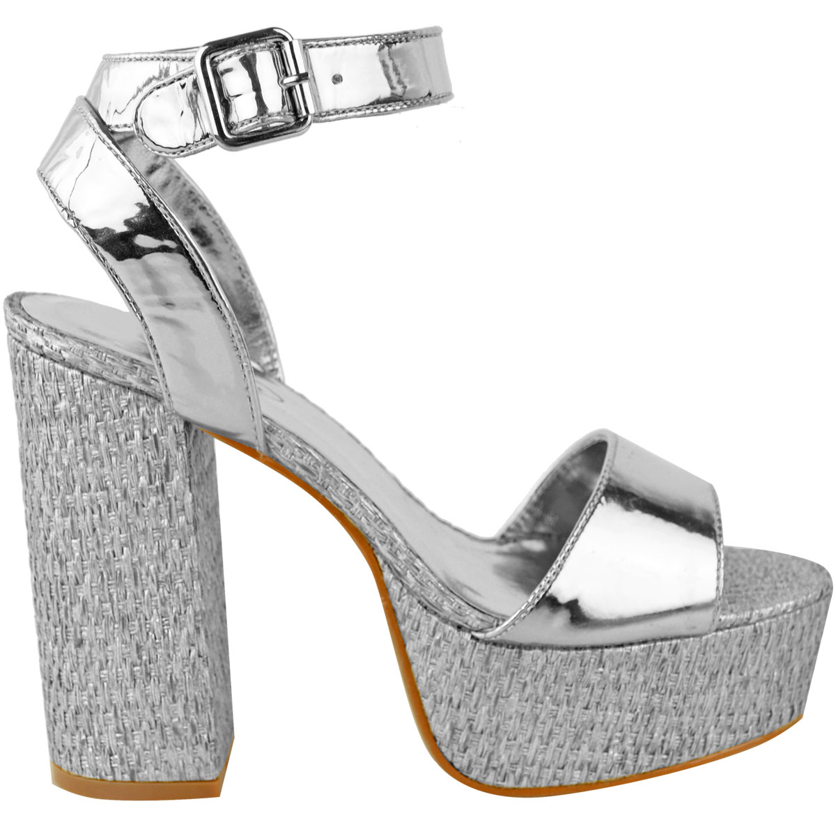 Womens-Ladies-Platforms-Sandals-Block-Heel-Ankle-Strap-Summer-Barely-There-Size thumbnail 9