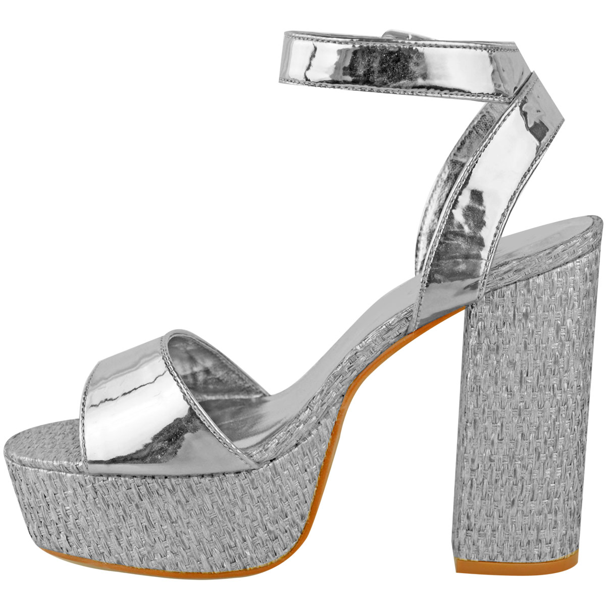 Womens-Ladies-Platforms-Sandals-Block-Heel-Ankle-Strap-Summer-Barely-There-Size thumbnail 10