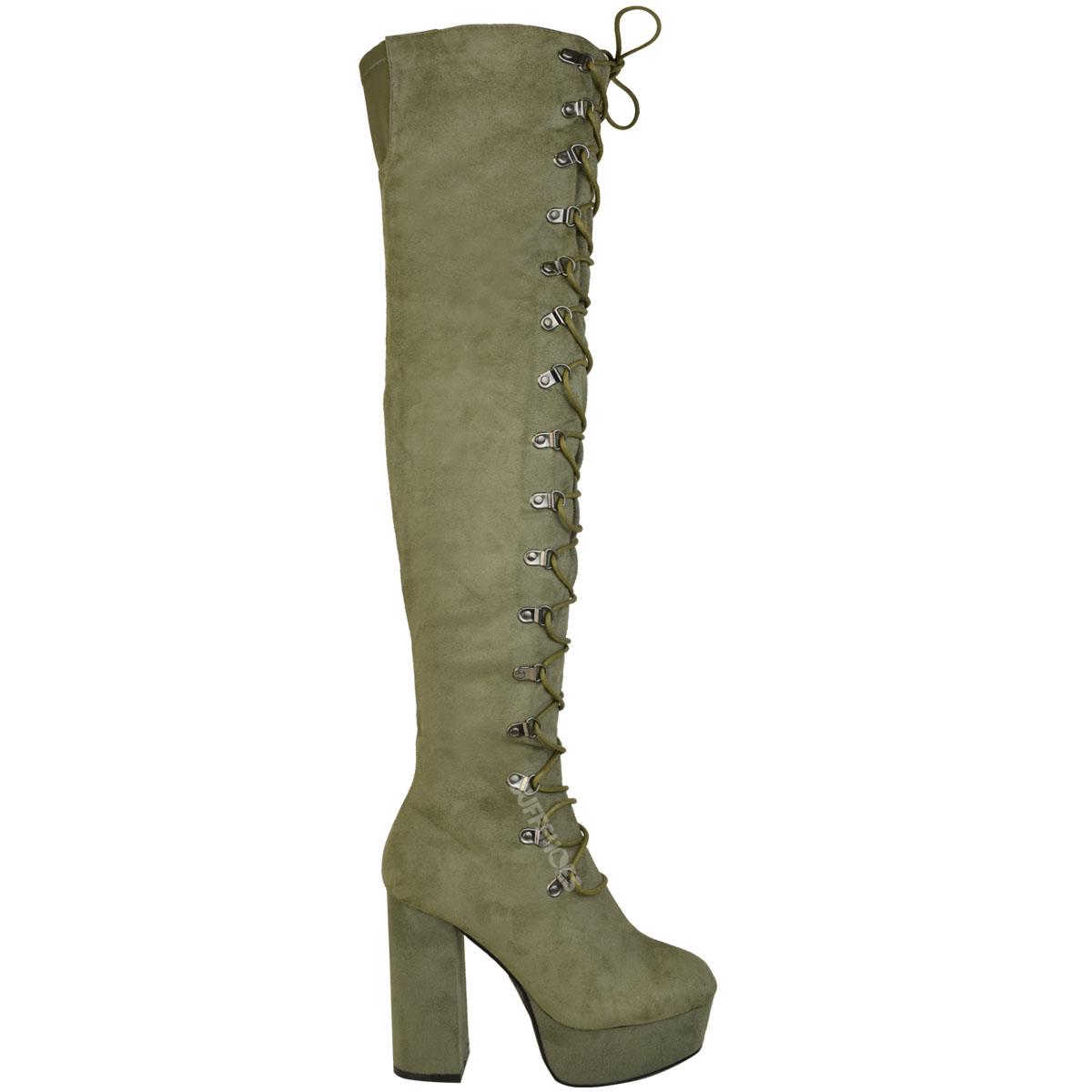 Chaussures femme bottes femmes cuisse haute au-dessus Du Genou Talon Aiguille Lace Up Chaussures Taille