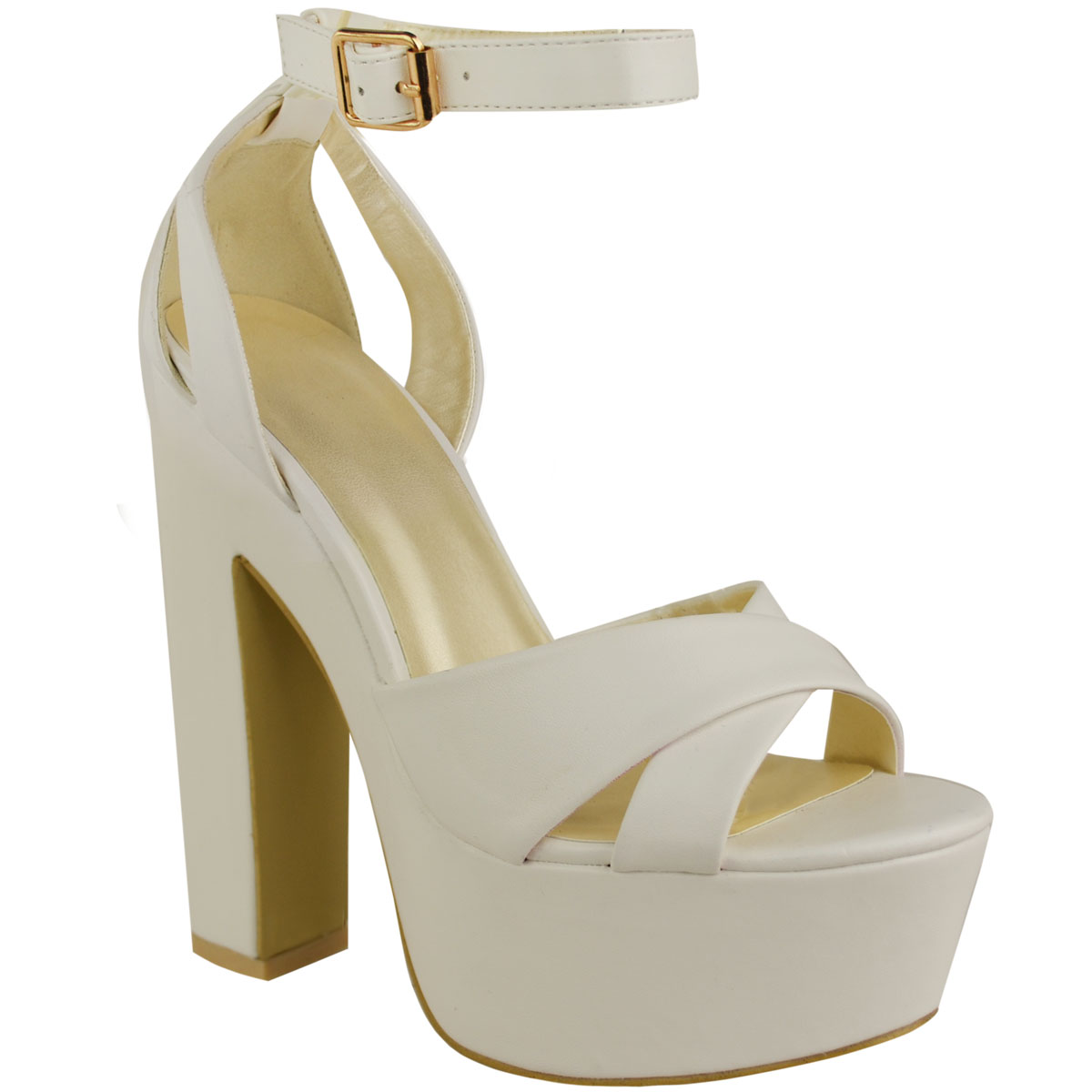 NEW WOMENS LADIES PLATFORM HIGH HEEL SANDALS CHUNKY CROSS OVER STRAPPY SHOES