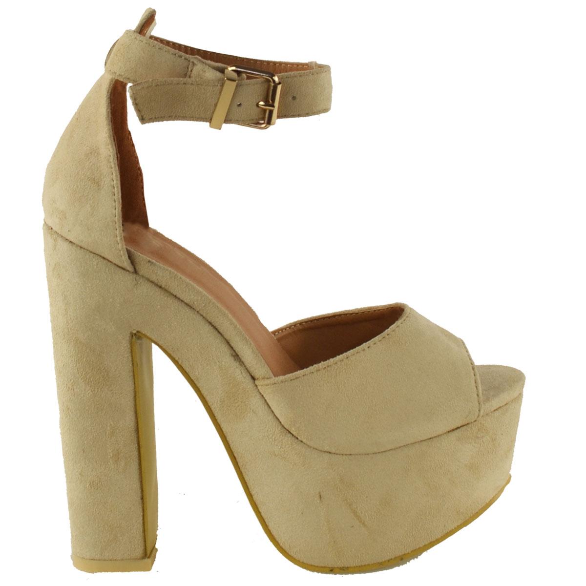 new womens ankle platform chunky high heel