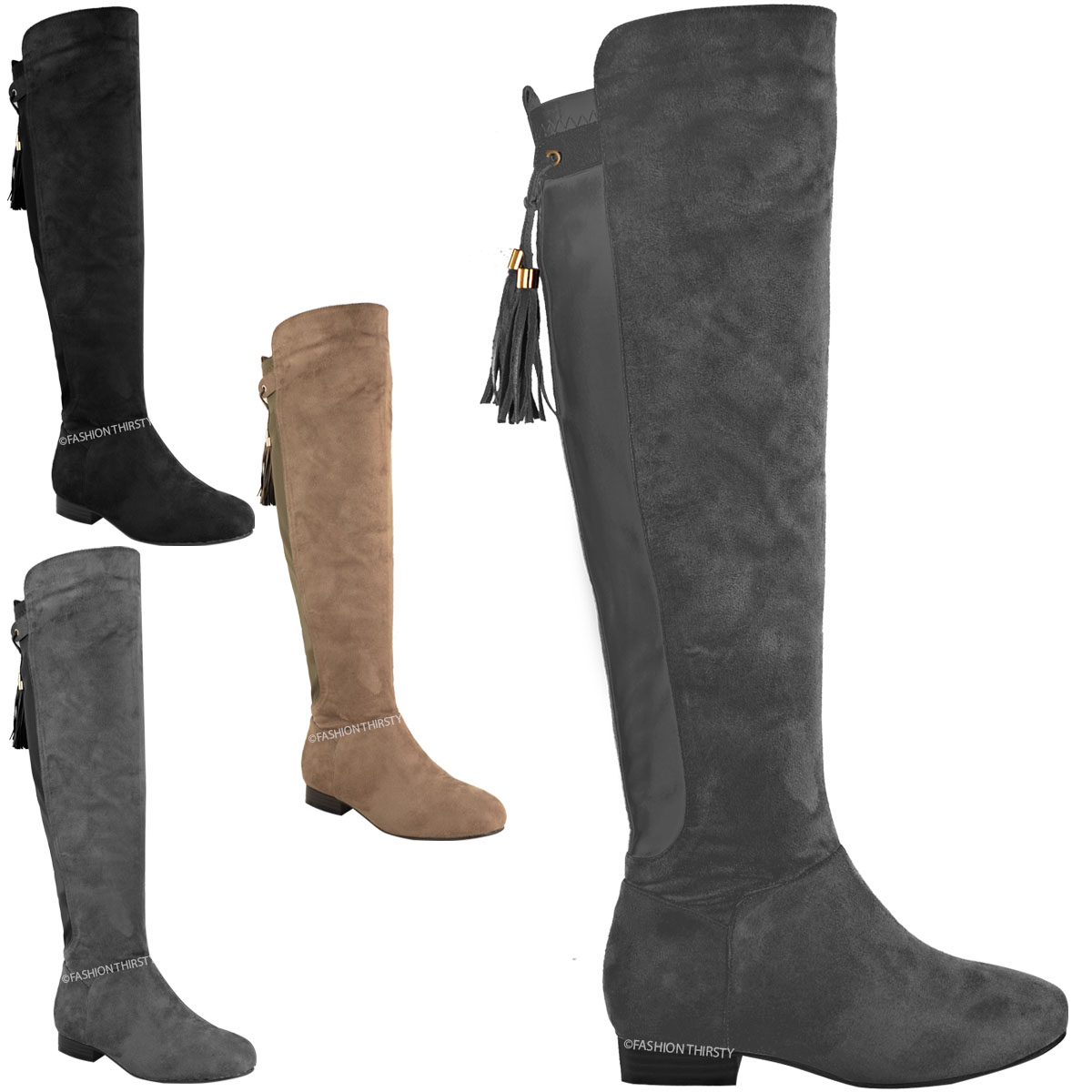NEW WOMENS LADIES OVER THE KNEE THIGH HIGH FLAT BOOTS STRETCH WIDE ...