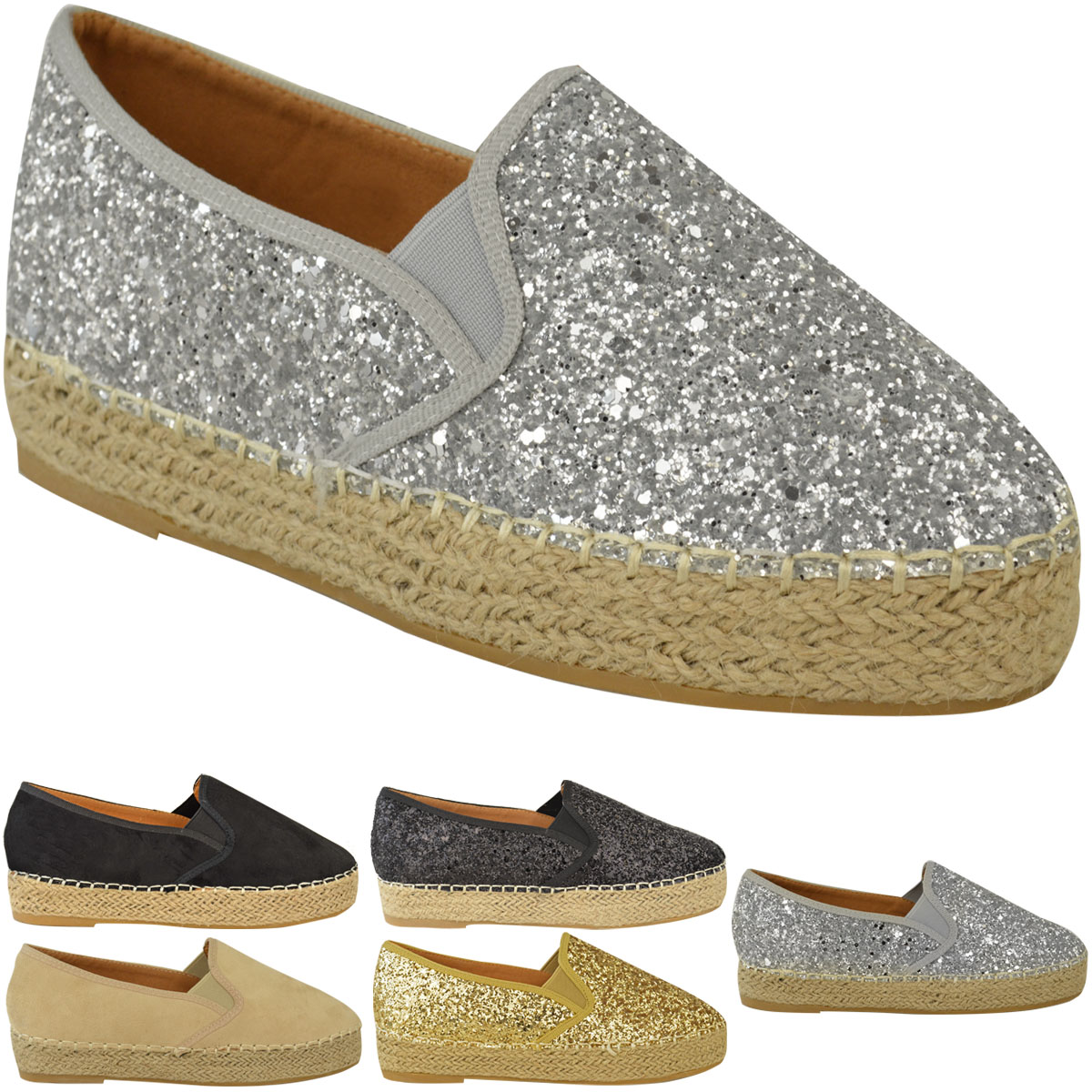 Womens Ladies Flat Sandals Espadrille Glitter Slip On Plimsoll Pump Shoe Size