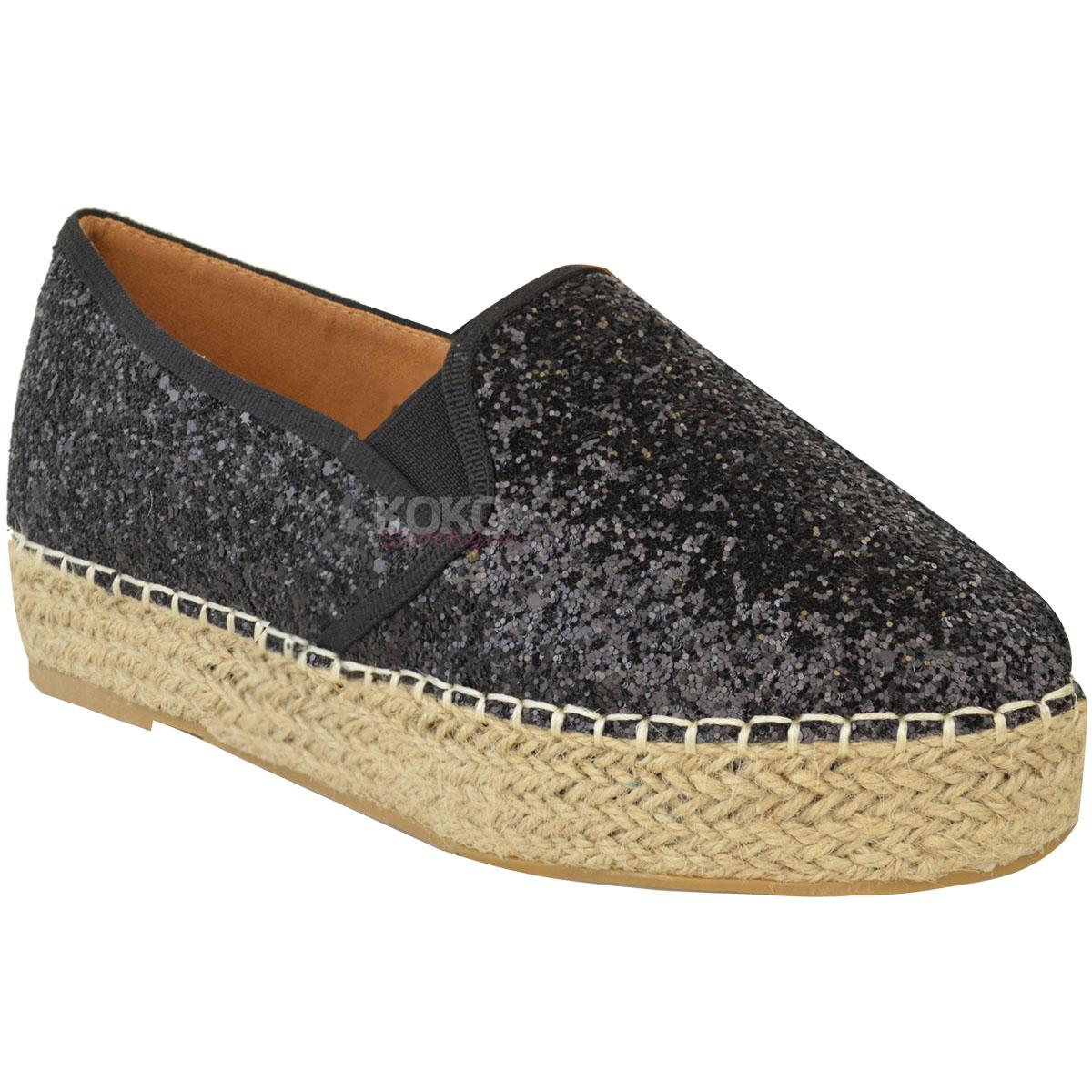 cc2880afb Womens Ladies Flat Espadrilles Low Wedge Slip On Glitter Platforms ...