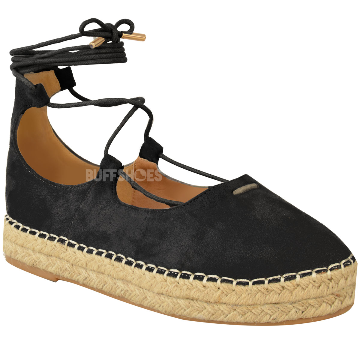 new womens ladies lace up strappy low flat canvas wedge espadrilles sandals size ebay. Black Bedroom Furniture Sets. Home Design Ideas