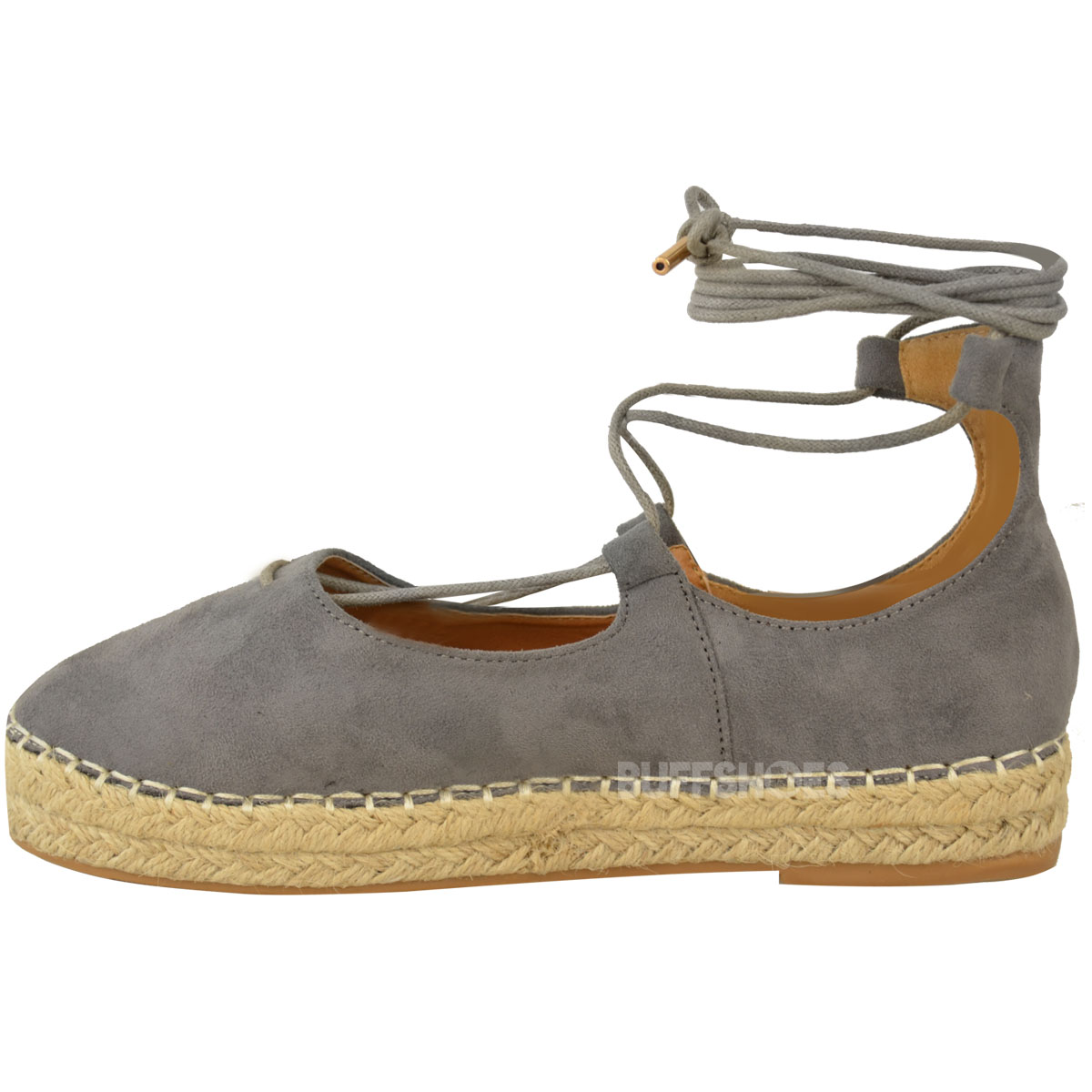 db16c45963253 New Womens Ladies Lace Up Strappy Low Flat Canvas Wedge Espadrilles ...
