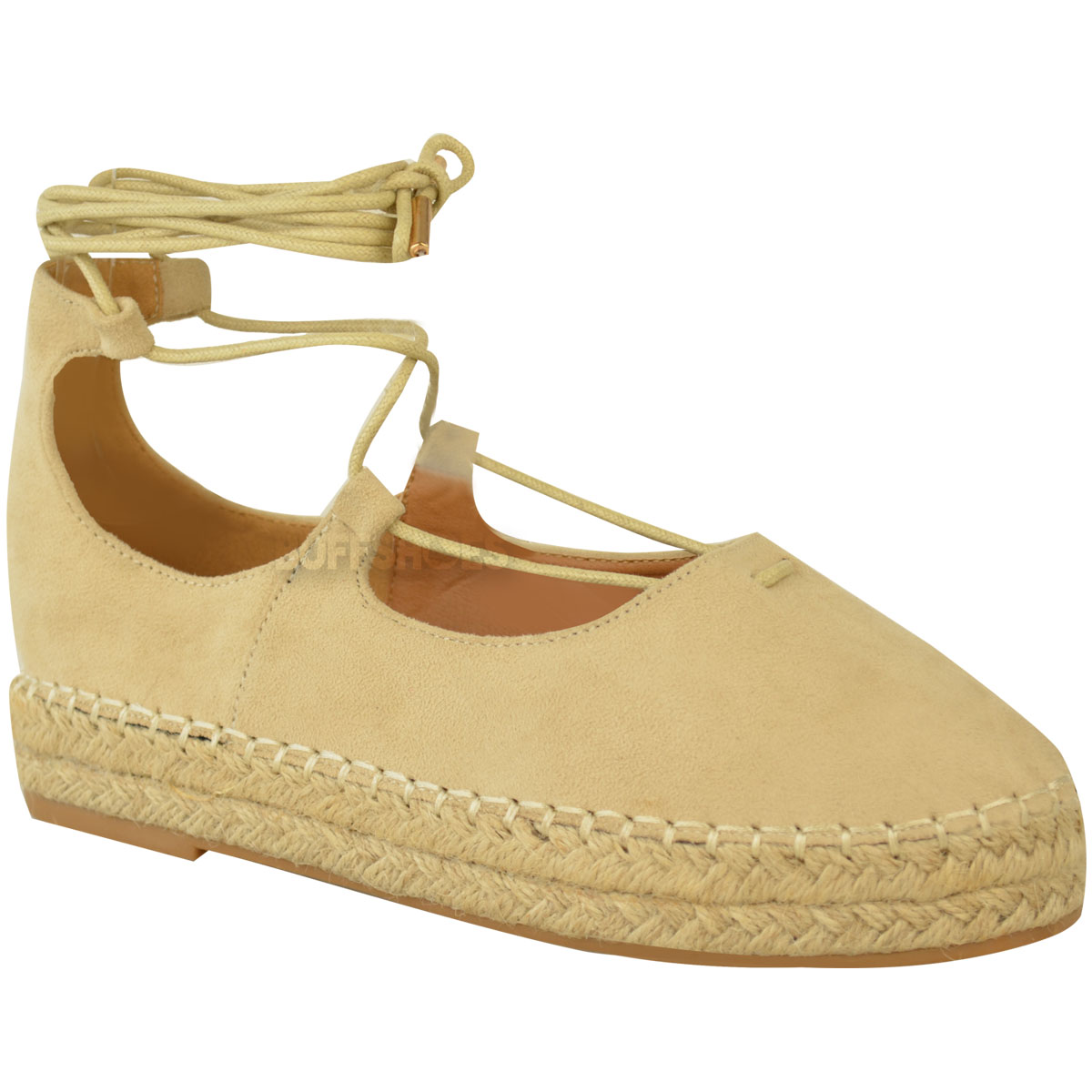 New Womens Ladies Lace Up Strappy Low Flat Canvas Wedge Espadrilles Sandals Size
