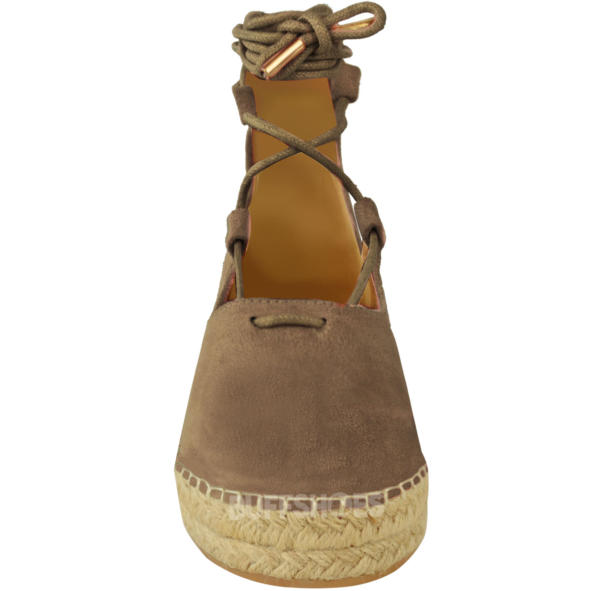 New Womens Ladies Lace Up Strappy Low Flat Canvas Wedge