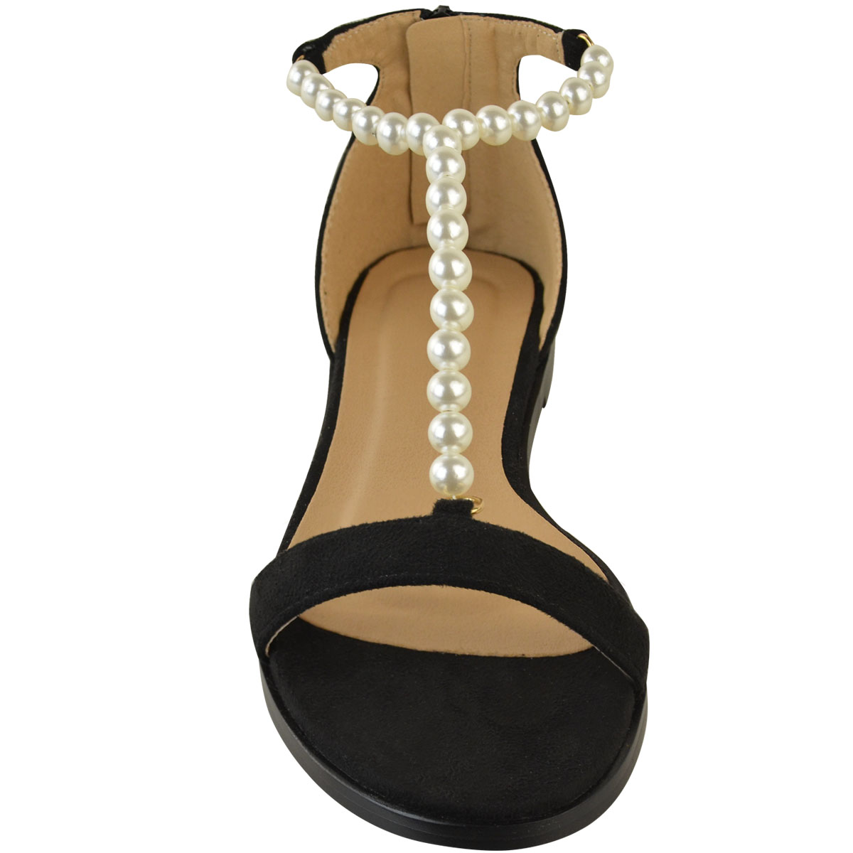 Womens Ladies Flat Sandals Summer Beaded Strappy T Bar Holiday Flip Flops Size